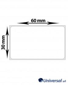 Rotolo etichette OPP 60x30 mm Bianco. scatola da 12 rotoli,1000 etichette a rotolo