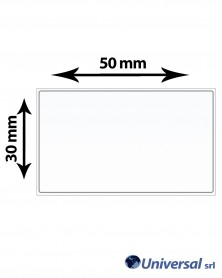 Rotolo etichette OPP 50x30 mm Bianco. scatola da 12 rotoli,1000 etichette